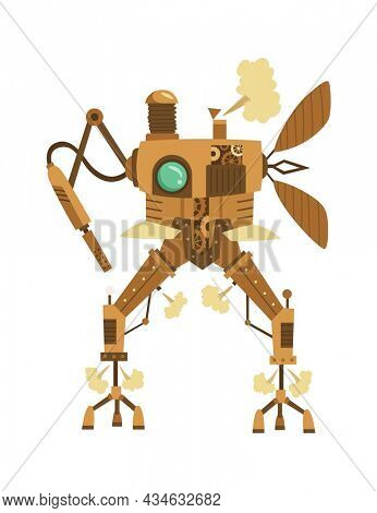 Steampunk fashion technology, fantasy vintage illustration with cartoon robot. Steam punk invention. Character with mechanical element