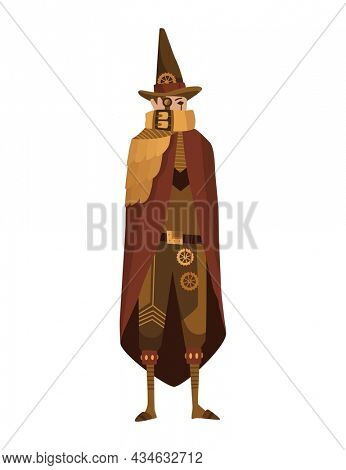 Steampunk fashion technology, fantasy vintage illustration with cartoon man in steampunk costume. Steam punk invention. People character with mechanical element