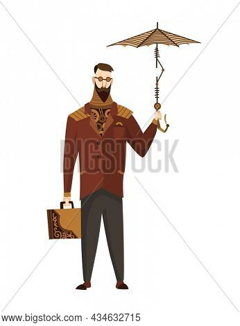 Steampunk technology, fantasy vintage illustration with cartoon man in steampunk costume. Steam punk invention. People character with mechanical element