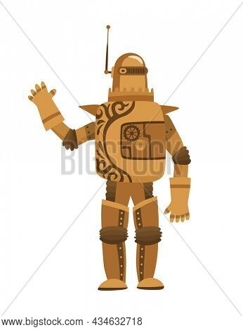 Steampunk fashion technology, fantasy vintage illustration with cartoon man in steampunk robot costume. Steam punk invention. People character with mechanical element