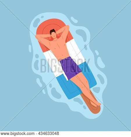 Happy Relaxed Man Floating In Pool Water, Lying On Inflatable Mattress. Person Enjoying Sunbathing O