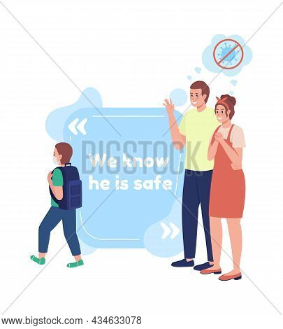 Safe Back To School Vector Quote Box With Flat Character. Protective Mask. We Know He Is Safe. Speec
