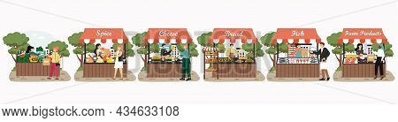 Local Market Stalls, Farmer Shops Fresh Fruits Farm Products, Vector Illustration. Purchase Sale Of