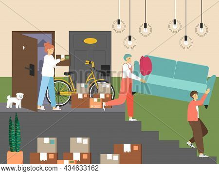 Family Moving To New House, Vector Illustration. Loaders Taking Sofa Out Of The Room. Home Relocatio