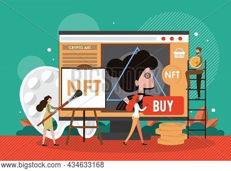 Nft Artist Creating Digital Artwork With Brush On Computer Screen, Vector Illustration. Crypto Art.