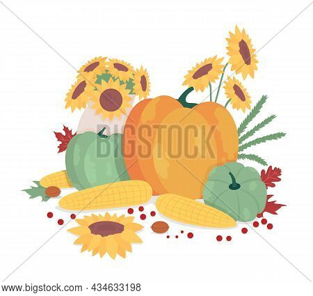 Autumnal Harvest Semi Flat Color Vector Objects. Ripe Pumpkins And Apples. Decorative Items On White