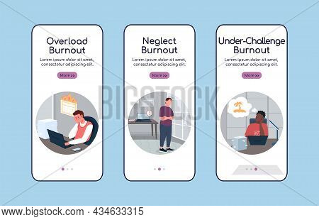 Burnout Types Onboarding Mobile App Screen Flat Vector Template. Stressed From Work. Walkthrough Web