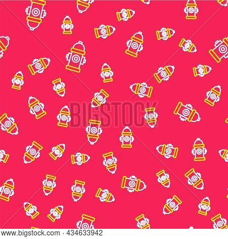 Line Fire Hydrant Icon Isolated Seamless Pattern On Red Background. Vector