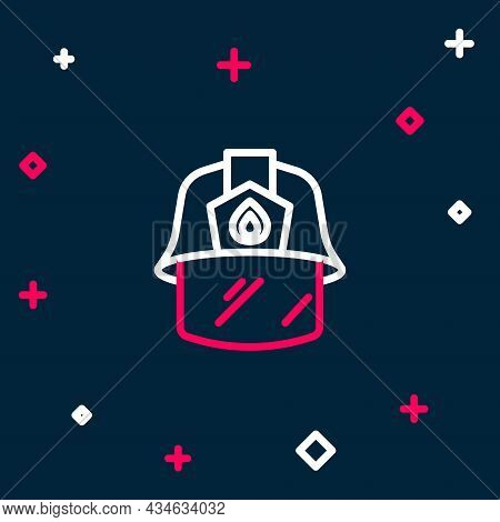 Line Firefighter Helmet Or Fireman Hat Icon Isolated On Blue Background. Colorful Outline Concept. V