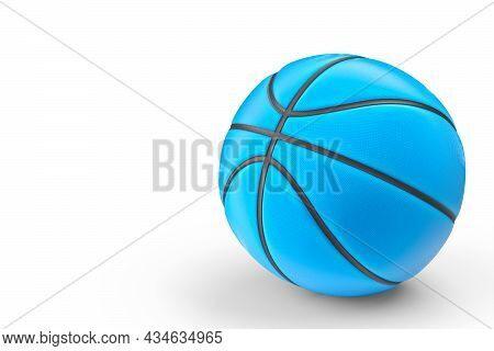 Blue Basketball Ball Isolated On White Background. 3d Rendering Of Sport Accessories For Team Playin
