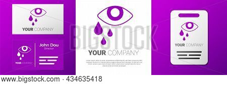 Logotype Tear Cry Eye Icon Isolated On White Background. Logo Design Template Element. Vector