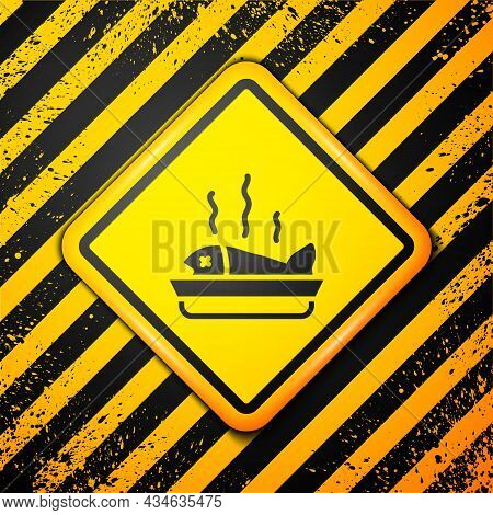 Black Served Fish On A Plate Icon Isolated On Yellow Background. Warning Sign. Vector