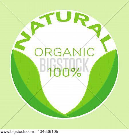 Natural Organic Green Leaves Logo Flat Design Vector Illustration