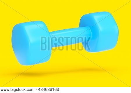Rubber Blue Dumbbell Isolated On Yellow Background. 3d Rendering Of Sport Equipment For Fitness And