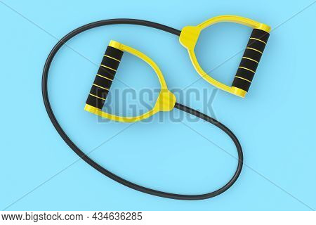 Hand Expander Or Resistance Band With Rubber Handle Isolated On Blue Background. 3d Rendering Of Spo
