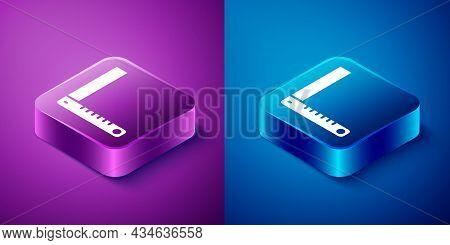 Isometric Corner Ruler Icon Isolated On Blue And Purple Background. Setsquare, Angle Ruler, Carpentr