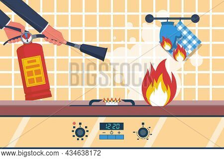 Fire In The Kitchen. Accident In The Kitchen. Working Surface With A Burning Towel. Vector Illustrat