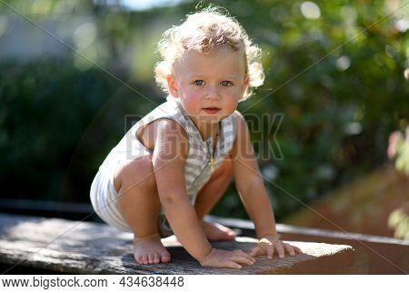 Beautiful Baby Boy In Child Garden Posing Photographer