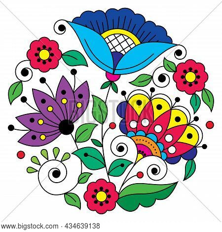 Swedish Folk Art Vector Mandala Design Pattern With Flowers, Leaves And Swirls Inspired By The Tradi