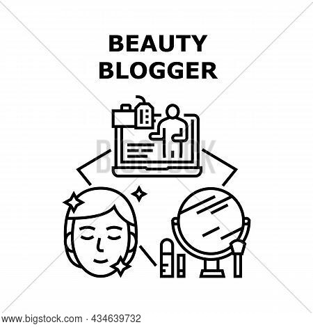 Beauty Blogger Vector Icon Concept. Beauty Blogger Recording Video Talking And Applying Cosmetic, Li