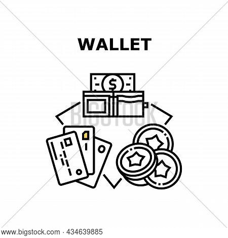 Wallet Accessory Vector Icon Concept. Wallet Accessory For Storage Money Dollar Banknote Cash, Coins