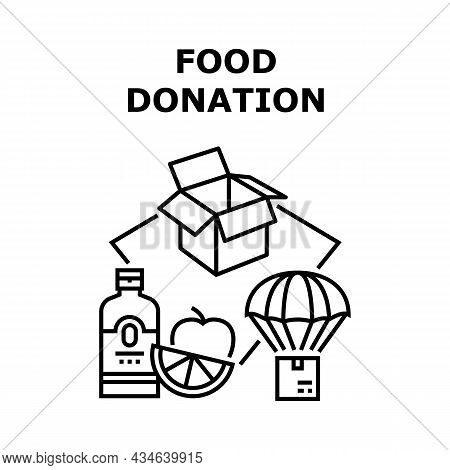 Food Donation Vector Icon Concept. Natural Fresh Bio Fruit And Drink In Carton Box And Delivering On
