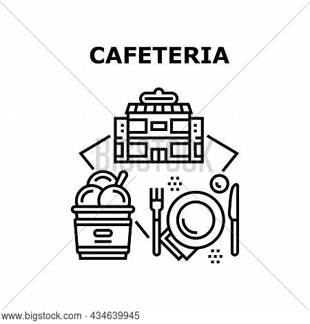 Cafeteria Food Vector Icon Concept. Ice Cream And Delicious Dessert With Drink Cafeteria Food, Eatin
