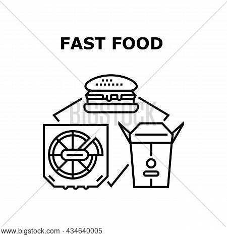 Fast Food Lunch Vector Icon Concept. Tasty Pizza And Chinese Nutrition Package, Fatty Fresh Hamburge