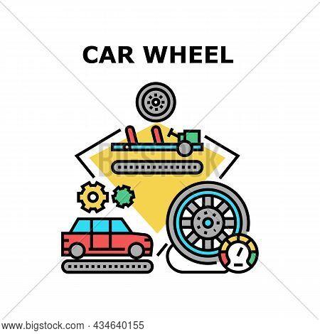 Car Wheel Maintenance Vector Icon Concept. Car Wheel Maintenance And Installation, Production Proces