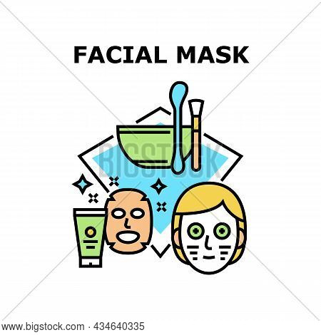Facial Mask Vector Icon Concept. Facial Mask Preparing From Natural Organic Ingredients And Cream Pa