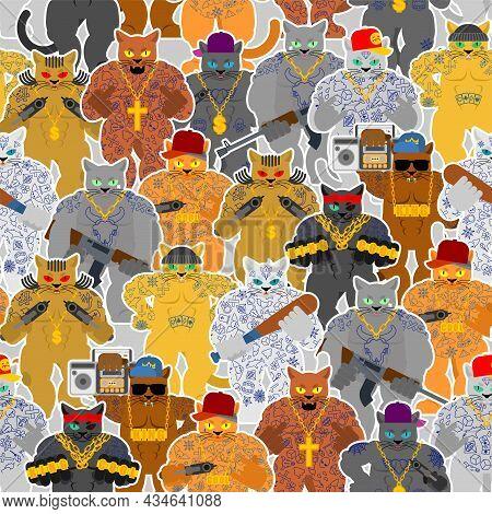 Cat Gang Pattern Seamless. Cat Gangsta Background. Angry Pet Bully Member Of Gang Of Street Criminal