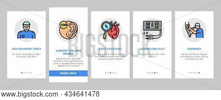 Surgery Medicine Clinic Operation Onboarding Mobile App Page Screen Vector. Lips And Facial Plastic