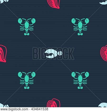 Set Mussel, Lobster Or Crab Claw And On Seamless Pattern. Vector
