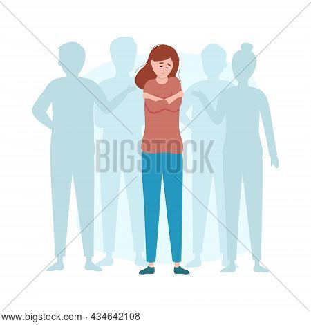 Sad Depressed Lonely Girl Stands Among People. Psychological Issues. Mental Illness And Problem. Anx