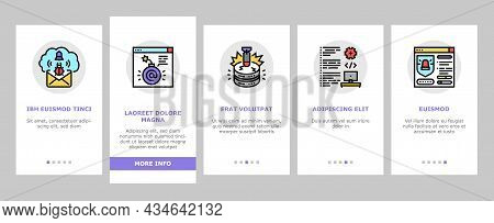 Cyber Security System Technology Onboarding Mobile App Page Screen Vector. Cyber Security Software A