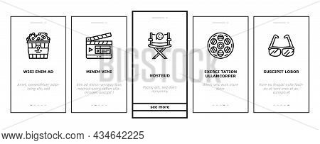 Cinema Watch Movie Entertainment Onboarding Mobile App Page Screen Vector. Booking Ticket And Buying