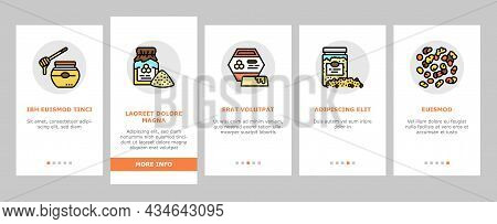 Beekeeping Profession Occupation Onboarding Mobile App Page Screen Vector. Bee Honey Bottle And Poll