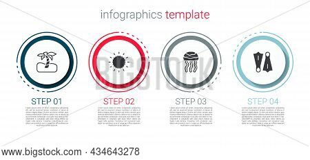 Set Tropical Palm Tree, Sun, Jellyfish And Rubber Flippers For Swimming. Business Infographic Templa