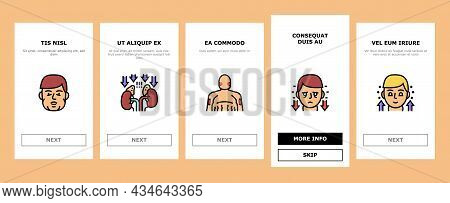 Endocrinology Medical Disease Onboarding Mobile App Page Screen Vector. Parathyroid And Pituitary Gl