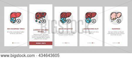 Hepatitis Liver Health Problem Onboarding Mobile App Page Screen Vector. Cirrhosis And Hepatitis Typ