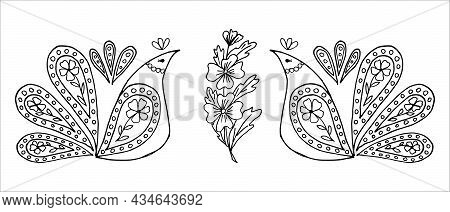 Stylized Proud Hen Birds Looking At A Flower, In Doodle Or Sketch Style, Vector. Children's And Adul