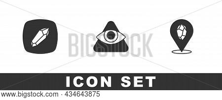Set Magic Stone, All-seeing Eye Of God And Icon. Vector