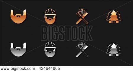 Set Mustache And Beard, Lumberjack, Wooden Logs On Stand And Christmas Tree Icon. Vector