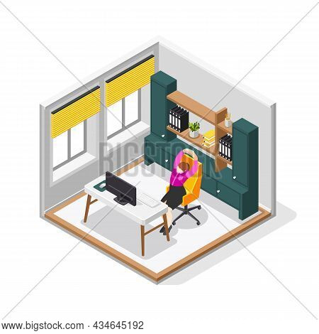 Office Stretches 3d Composition With Female Person Stretching Body Sitting In Chair At Her Desk Vect