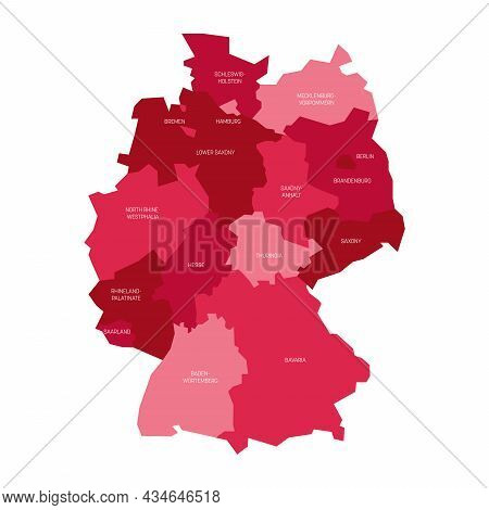 Pink Political Map Of Germany. Administrative Divisions - Federal States And 3 City-states - Berlin,