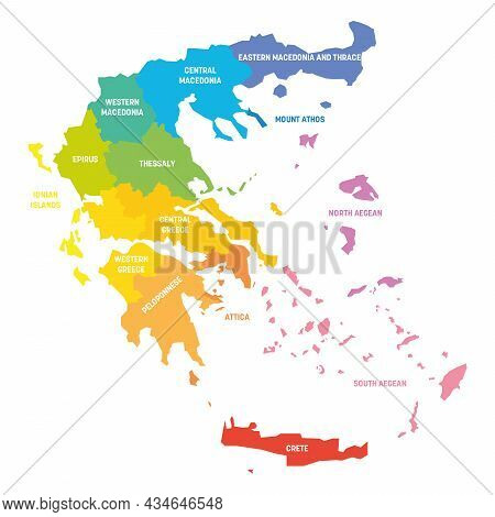 Colorful Political Map Of Greece. Administrative Divisions - Decentralized Administrations. Simple F