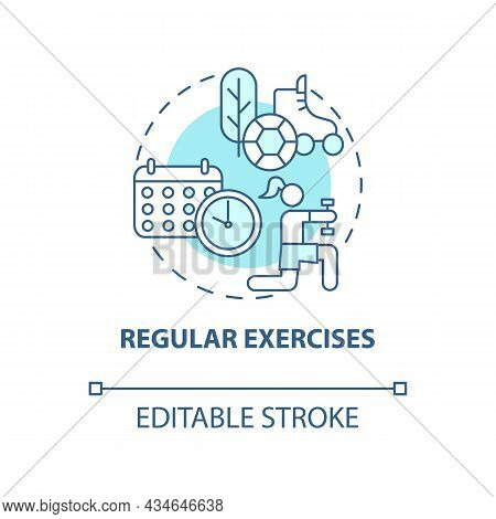 Regular Exercises Concept Icon. Hypertension Prevention Tip Abstract Idea Thin Line Illustration. Fi