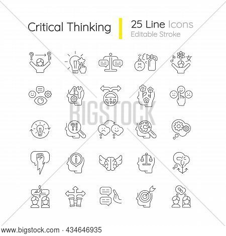 Critical Thinking Linear Icons Set. Intellectual Skills. Evaluation, Observation. Communication Skil