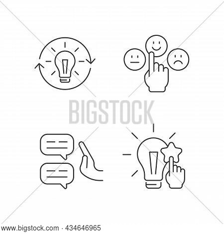 Logical And Rational Thinking Linear Icons Set. Skeptical View. Information Analysis And Evaluation.