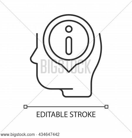 Staying Well Informed Linear Icon. Obtain Extensive Information And Facts. Knowledgeable Person. Thi
